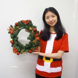 クリスマス装飾 デコレーションリース レッド 40cm / クリスマス 飾り ディスプレイ|event-ya