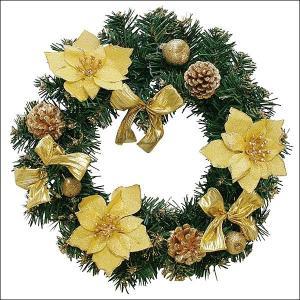 クリスマス装飾 デコレーションゴールドリース 30cm|event-ya