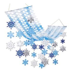 ウインター装飾 青と白のスノープリーツハンガー L150cm / 冬 雪 ディスプレイ 飾り|event-ya