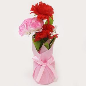母の日装飾 赤ピンク カーネーションラッピングポット H22cm / 飾り ディスプレイ /動画有|event-ya