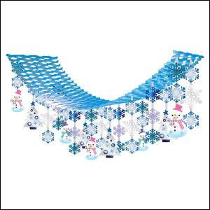 ウインター装飾 ハートスノーマンプリーツハンガー L180cm / 冬 雪 ディスプレイ 飾り|event-ya