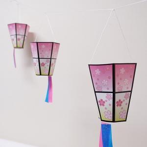5連桜ミニぼんぼり 紐L220cm、H18cm×W10cm / 飾り 装飾 ディスプレイ 春/ 動画有|event-ya