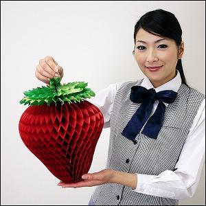 イチゴ装飾 いちご折りたたみハニカムPOP H32cm 3個組 H32cm×W25cm / 飾り ディスプレイ 春|event-ya