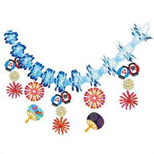 夏祭り装飾 提灯花火ガーランド L180cm / 飾り ディスプレイ ちょうちん|event-ya
