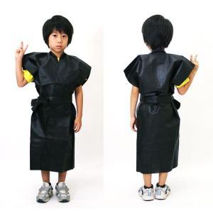 不織布子供ロングはっぴ カラー 小学生低学年用 黒 / ハッピ・法被・伴天|event-ya