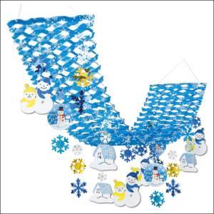 ウインター装飾 ペアスノーマンプリーツハンガー L180cm / 冬 雪 ディスプレイ 飾り|event-ya