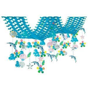 夏のマリンブルー装飾 イルカシェルサマー二連ハンガー  L220cm【夏・海・ディスプレイ・装飾・飾り】|event-ya