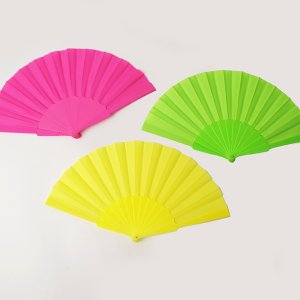 プラスチック製カラー扇子 蛍光色|event-ya