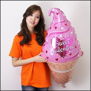[在庫限り500円バルーン] バレンタイン風船 スイートソフトクリーム 90cm/メール便5枚まで可|event-ya