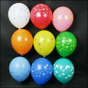 天然ゴム風船 オールプリント柄 10インチ 100個 色アソート 風船のみ【バルーン】|event-ya
