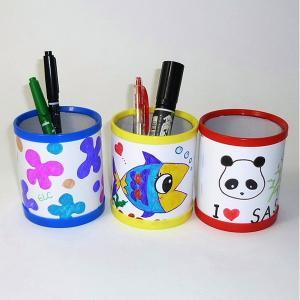 お絵かき工作キット ペン立て作り 3色アソート(10個) / 手作り 色塗り おえかき|event-ya