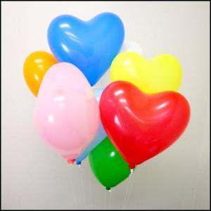 天然ゴム風船 ハート型風船ヘリウムガス用(100ヶ) ワンタッチバルブ、糸付/ バルーン  [動画有り]|event-ya
