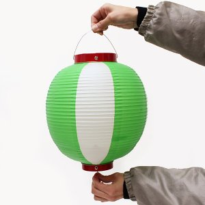 ビニール尺丸張分ちょうちん 高さ30cm 緑/白 event-ya