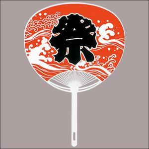 ポリ骨祭りうちわ[団扇](100本) 赤|event-ya