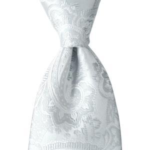 ネクタイ ペイズリー ソリッド フォーマル シルク 日本製 プレゼント ギフト お誕生日 記念日 結婚式 シルバー グレー|evergrays
