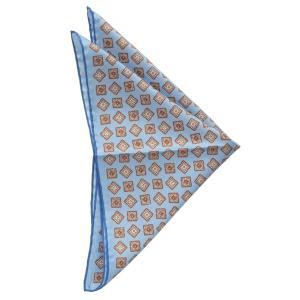 FRANCO BASSI フランコ バッシ ポケット チーフ パネル クレスト シルク ITALY製 プレゼント ギフト お誕生日 記念日 結婚式 ブルー|evergrays