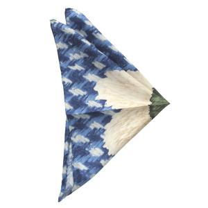 FRANCO BASSI フランコ バッシ ポケット チーフ プリント シルク ITALY製 プレゼント ギフト お誕生日 記念日 結婚式 ブルー|evergrays