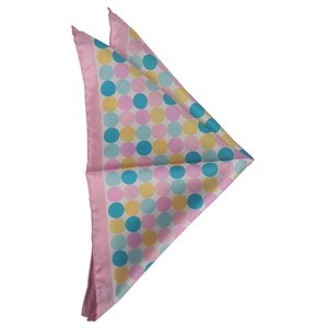 ポケット チーフ ドット パネル プリント シルク ITALY製 プレゼント ギフト お誕生日 記念日 結婚式 ピンク|evergrays