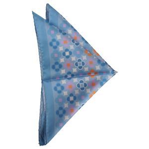 ポケット チーフ パネル プリント シルク ITALY製 プレゼント ギフト お誕生日 記念日 結婚式 ブルー|evergrays