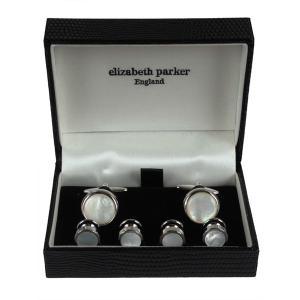 ELIZABETH PARKER エリザベス パーカー カフス スタッド ボタン セット プレゼント ギフト 結婚式 お誕生日 記念日 マザー オブ パール|evergrays