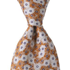 PERSONALITY パーソナリティ ネクタイ ボタニカル 花柄 シルク ITALY製 プレゼント ギフト お誕生日 記念日 結婚式 オレンジ evergrays