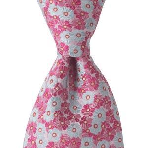 PERSONALITY パーソナリティ ネクタイ ボタニカル 花柄 シルク ITALY製 プレゼント ギフト お誕生日 記念日 結婚式 ピンク evergrays