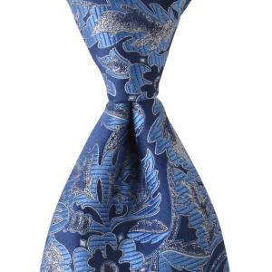 PENROSE ペンローズ(London) ネクタイ ボタニカルパターン シルク ITALY製 プレゼント ギフト お誕生日 記念日 結婚式 ブルー|evergrays