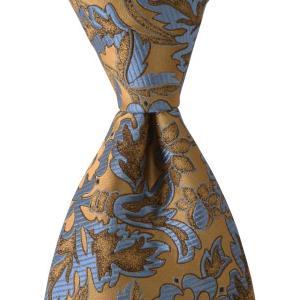 PENROSE ペンローズ(London) ネクタイ ボタニカルパターン シルク ITALY製 プレゼント ギフト お誕生日 記念日 結婚式 ゴールドベージュ|evergrays