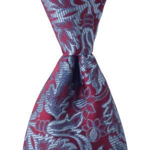 PENROSE ペンローズ(London) ネクタイ ボタニカルパターン シルク ITALY製 プレゼント ギフト お誕生日 記念日 結婚式 ワインレッド|evergrays