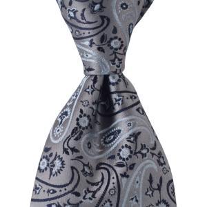 PENROSE ペンローズ(London) ネクタイ ペイズリー ボタニカル シルク ITALY製 プレゼント ギフト お誕生日 記念日 結婚式 グレー|evergrays