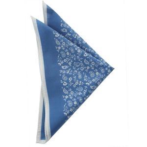 STEFANO BIGI ステファノ ビジ ポケットチーフ プリント ITALY製 プレゼント ギフト お誕生日 記念日 結婚式 ブルー|evergrays
