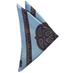 STEFANO BIGI ステファノ ビジ ポケットチーフ プリント シルク ITALY製 プレゼント ギフト お誕生日 記念日 結婚式 ブルー|evergrays
