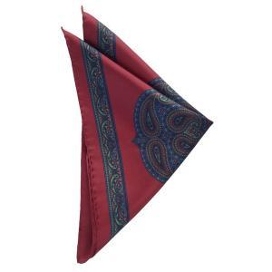 STEFANO BIGI ステファノ ビジ ポケットチーフ プリント シルク ITALY製 プレゼント ギフト お誕生日 記念日 結婚式 レッド|evergrays