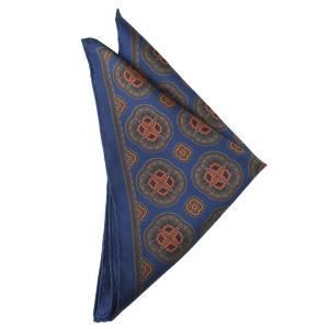 STEFANO BIGI ステファノ ビジ ポケットチーフ 小紋 クレスト プリント シルク ITALY製 プレゼント ギフト お誕生日 記念日 結婚式 ブルー|evergrays