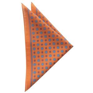 STEFANO BIGI ステファノ ビジ ポケットチーフ 小紋 クレスト プリント コットン ITALY製 プレゼント ギフト お誕生日 記念日 結婚式 オレンジ|evergrays