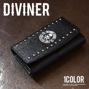 キーケース メンズ ブランド 三つ折りキーケース スカル ドクロ ドクロ ブラック 黒 お兄系 オラオラ系 DIVINER ディバイナー