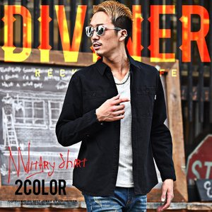 ミリタリーシャツ メンズ 長袖シャツ ミリタリー ブラック 黒 カーキ ストリート DIVINER ディバイナー|evergreen92