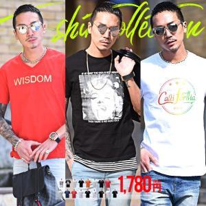 Tシャツ メンズ 半袖 夏 コーデ ブランド Vネック 新品 おしゃれ タイト 小さめ クルーネック かっこいい プリント ロゴ 白
