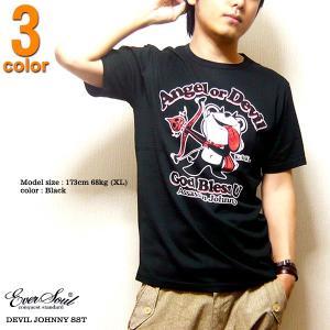 Tシャツ 半袖 メンズ デビルジョニー キャラクター ラメプリント かわいい tシャツ 日本製 ホワイト ブラック|eversoul