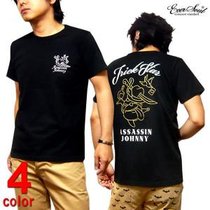 殺し屋ジョニー キャラクター Tシャツ プリント タトゥ メンズ ストリート バックプリント 黒 ブラック|eversoul