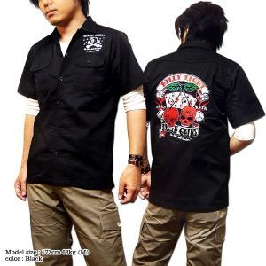 ロカビリーシャツ ボーリングシャツ ダーツシャツ メンズ バイカー 半袖 シャツ 刺繍|eversoul