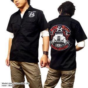 ロカビリーシャツ ボーリングシャツ ダーツシャツ メンズ バイカー 刺繍 半袖 シャツ|eversoul