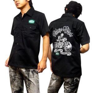 半袖 シャツ メンズ ボーリングシャツ ダーツシャツ スカル ロカビリーシャツ バイカー 刺繍 ブラック 黒|eversoul