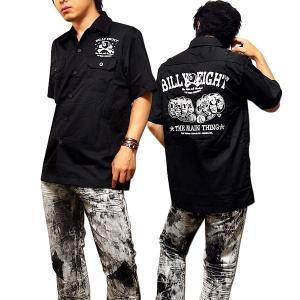 シャツ ボーリングシャツ ダーツシャツ メンズ バイカー 半袖 刺繍 ストリート ブラック|eversoul