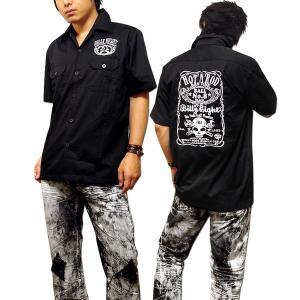 シャツ 半袖 メンズ ブラック 半袖シャツ ボーリングシャツ ダーツシャツ メンズ バイカー ロック 刺繍|eversoul