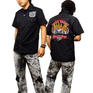 シャツ 半袖 メンズ ブラック ボーリングシャツ ダーツシャツ メンズ バイカー 半袖シャツ 刺繍|eversoul