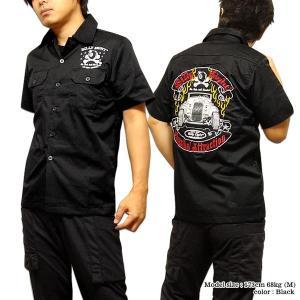 シャツ 半袖 メンズ ブラック 刺繍 ボーリングシャツ ダーツシャツ メンズ バイカー 半袖シャツ|eversoul