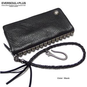 財布 長財布 男性用 メンズ スタッズ ブラック 黒 ビジュアル系 ウォレットチェーン eversoul