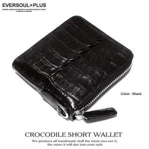 財布 二つ折り レザー クロコダイル 本革 ラウンドファスナー 男性用 メンズ サイフ ワニ ブラック 黒 ショートウォレット ジッパー eversoul