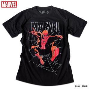 マーベル Tシャツ 半袖 スパイダーマン プリント キャラクター MARVEL アメコミ tシャツ グッズ メンズ キャラクター 黒 ブラック|eversoul